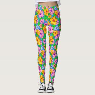 Tropical hibiscus floral print leggings