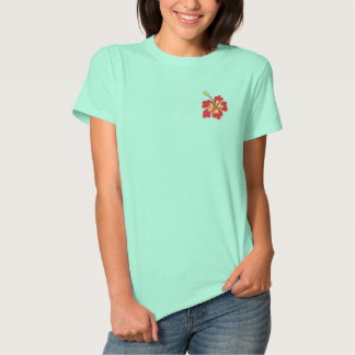 Tropical hibiscus flower embroidered women's shirt polo
