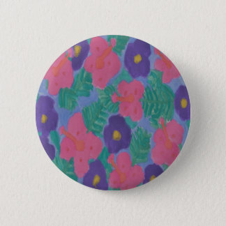 Tropical Hibiscus Flowers 2 Inch Round Button