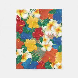 Tropical Hibiscus Flowers Design Fleece Blanket