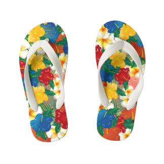 Tropical Hibiscus Flowers Design Kid's Flip Flops