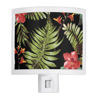 Tropical hibiscus flowers Floral Night Light