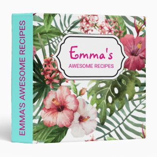 Tropical hibiscus flowers foliage pattern 3 ring binders