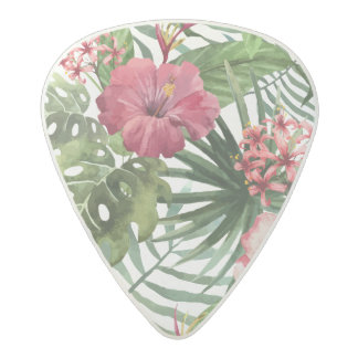 Tropical hibiscus flowers foliage pattern acetal guitar pick