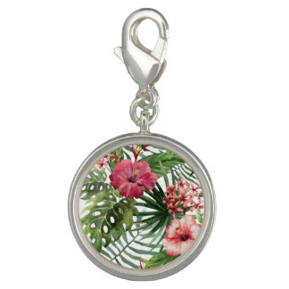 Tropical hibiscus flowers foliage pattern charm