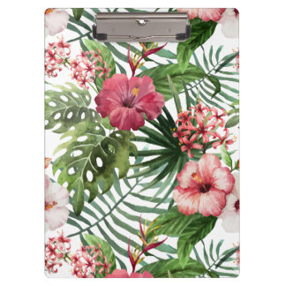Tropical hibiscus flowers foliage pattern clipboard