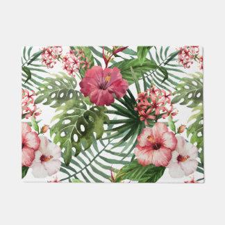 Tropical hibiscus flowers foliage pattern doormat