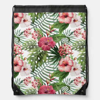 Tropical hibiscus flowers foliage pattern drawstring bag