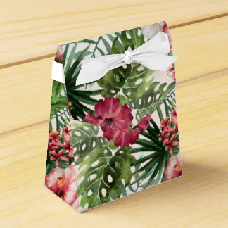 Tropical hibiscus flowers foliage pattern favor box