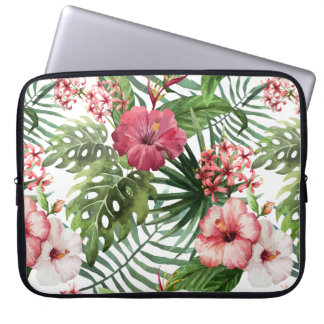 Tropical hibiscus flowers foliage pattern laptop sleeve
