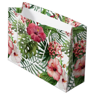 Tropical hibiscus flowers foliage pattern large gift bag