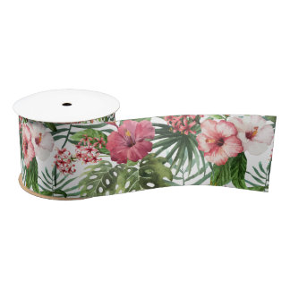 Tropical hibiscus flowers foliage pattern satin ribbon