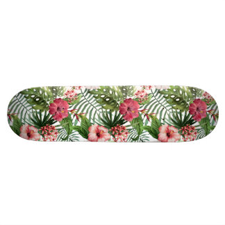 Tropical hibiscus flowers foliage pattern skateboard deck