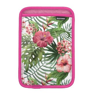 Tropical hibiscus flowers foliage pattern sleeve for iPad mini