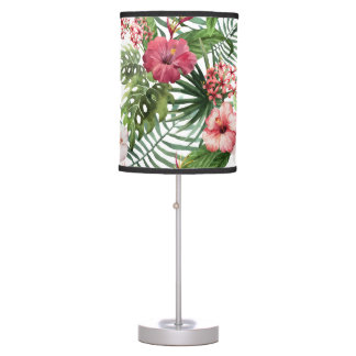 Tropical hibiscus flowers foliage pattern table lamp