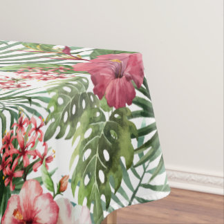 Tropical hibiscus flowers foliage pattern tablecloth
