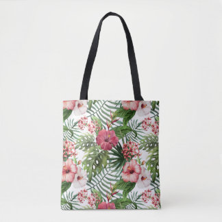 Tropical hibiscus flowers foliage pattern tote bag