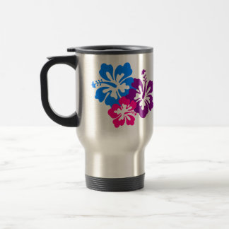 Tropical Hibiscus Flowers in Bright Colors Travel Mug
