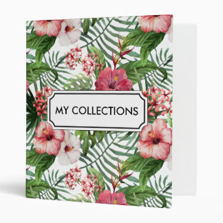 Tropical hibiscus flowers leaves foliage pattern 3 ring binders