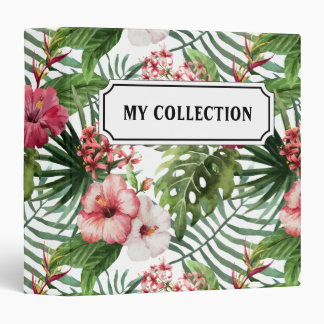 Tropical hibiscus flowers leaves foliage pattern binder