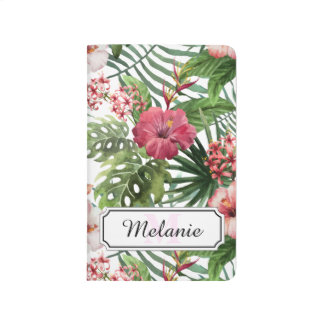Tropical hibiscus flowers leaves foliage pattern journal