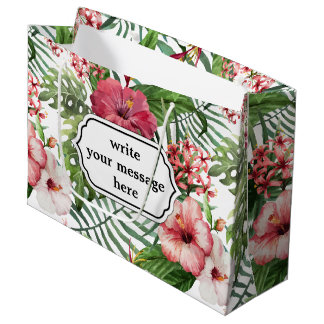 Tropical hibiscus flowers leaves foliage pattern large gift bag