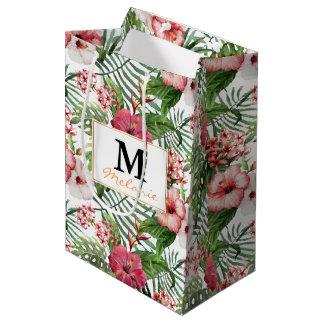 Tropical hibiscus flowers leaves foliage pattern medium gift bag