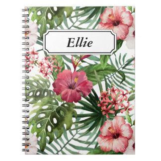 Tropical hibiscus flowers leaves foliage pattern notebooks