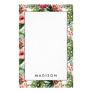 Tropical hibiscus flowers leaves foliage pattern stationery