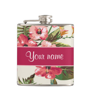 Tropical Hibiscus Flowers Pattern Flasks