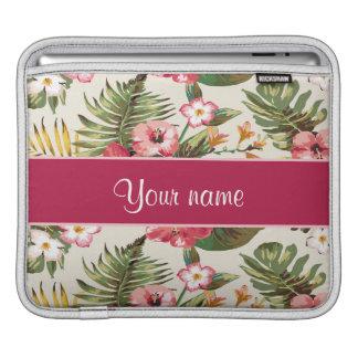 Tropical Hibiscus Flowers Pattern iPad Sleeve