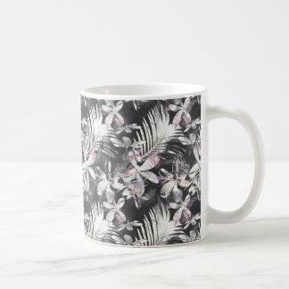 Tropical hibiscus flowers sketch coffee mug