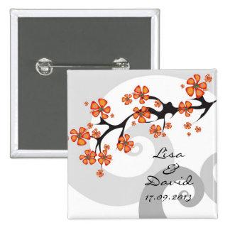 Tropical Hibiscus Flowers Swirls Wedding Button