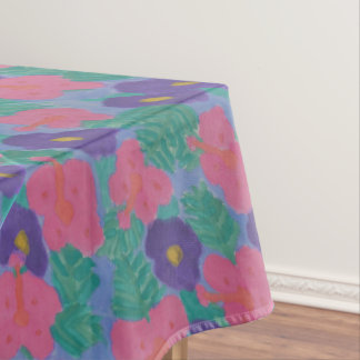 Tropical Hibiscus Flowers Tablecloth