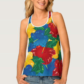 Tropical Hibiscus Flowers Tank Top