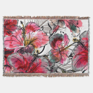 Tropical hibiscus flowers throw blanket