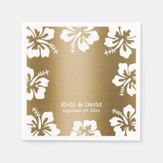 Tropical Hibiscus Gold Background Elegant Wedding Disposable Napkins