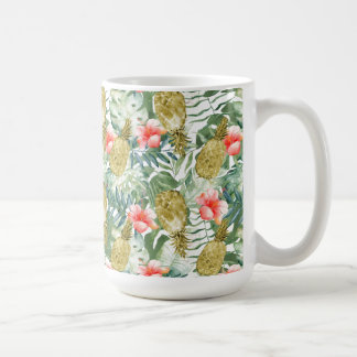 Tropical Hibiscus Gold Pineapples Floral Coffee Mug