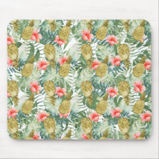 Tropical Hibiscus Gold Pineapples Floral Mouse Pad