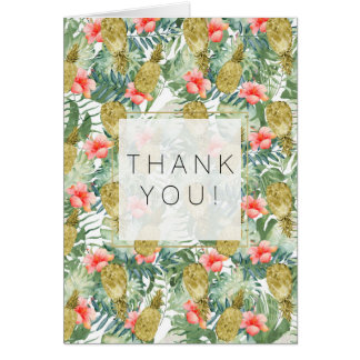 Tropical Hibiscus Gold Pineapples Floral thank you Card
