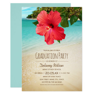 Tropical Hibiscus Hawaiian Beach Graduation Party Card