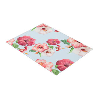 Tropical Hibiscus Hawaiian Floral Custom Blue Doormat