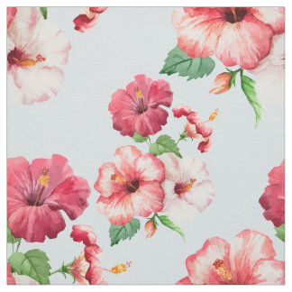 Tropical Hibiscus Hawaiian Floral Customizable Fabric
