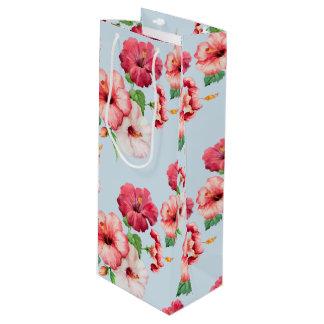 Tropical Hibiscus Hawaiian Floral Customizable Wine Gift Bag