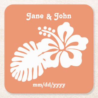 Tropical Hibiscus in Coral Paper Coaster