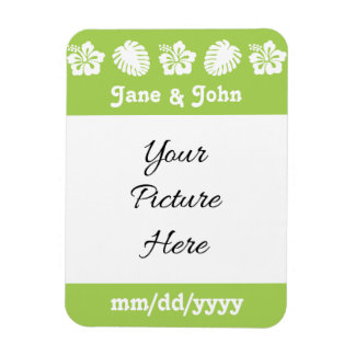 Tropical Hibiscus in Peridot Save-the-Date Magnet