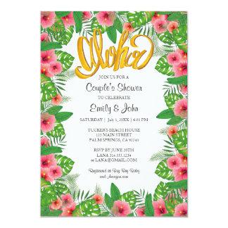 Tropical Hibiscus Luau Couple's Shower Invitation