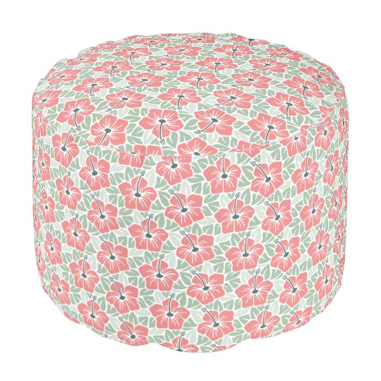 Tropical Hibiscus Pattern Pouf