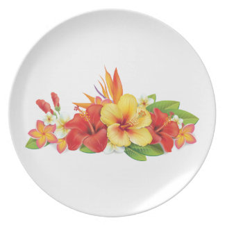 Tropical Hibiscus Plate