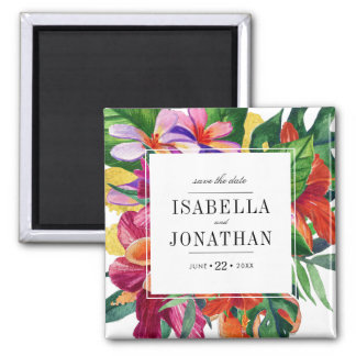 Tropical Hibiscus, Plumeria & Palm | Save The Date Square Magnet